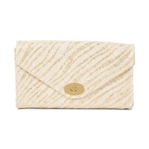 Handbags - Gold Envelope Straw Clutch